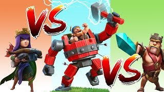 Battle Machine vs Barbarian King vs Archer Queen vs Roaster || Clash of Clans