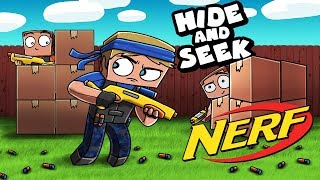 Minecraft - BOX FORT HIDE AND SEEK - NERF EDITION! (Nerf Box Fort)