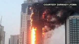 40-story skyscraper on fire in Chechnya