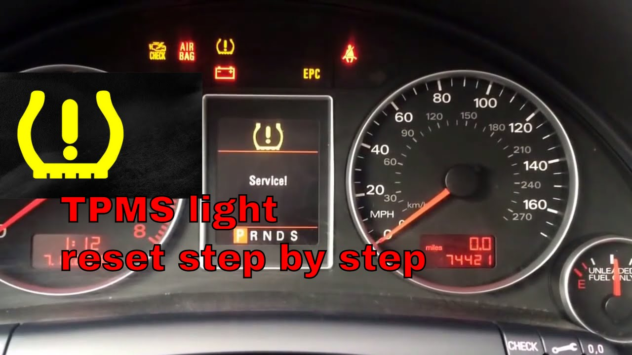 how to reset tire pressure light tpms on 2008 audi a4