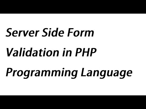 Server Side Form Validation in PHP Programming Language