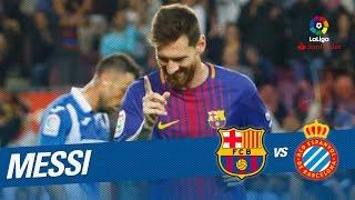 El hat-trick de messi en el fc barcelona vs rcd espanyol (5-0)