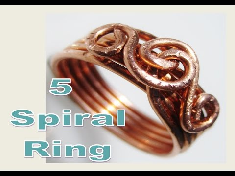 EASY Wire Wrap 5 Spiral RING Tutorial  - Liz Kreate
