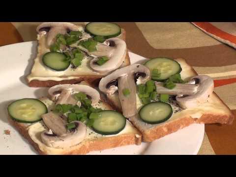 Бутерброды с сырыми шампиньонами рецепты с фото