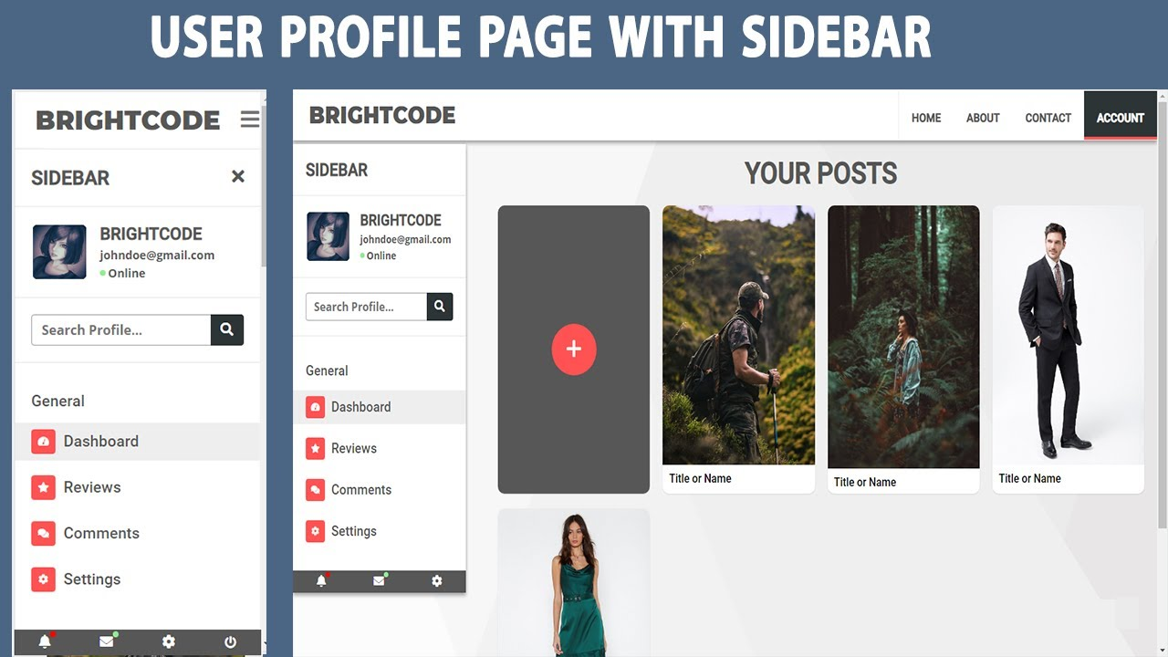 How To Create A Responsive User Profile Page Using Html,Css & javascript