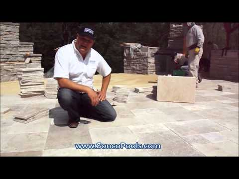 Sonco Pools and Spas | Natural Travertine Stone Patio with Fiberglass Pool
