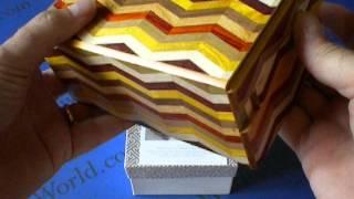 5 Sun 14 Step Notch Stripe Yosegi Japanese Puzzle Box