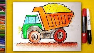 Как нарисовать ГРУЗОВИК, Урок рисования для детей от 3 лет, видео для детей