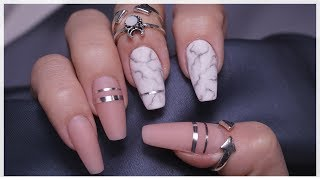 nail extension in ballerina form/ marble nail design
