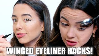 Trying Weird Eyeliner Hacks - Merrell Twins