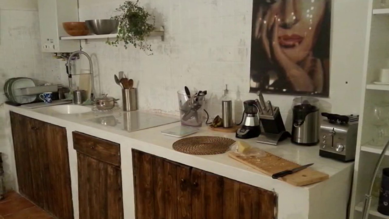 Fantastica ed unica nel genere Cucina in muratura e top in cemento armato  YouTube