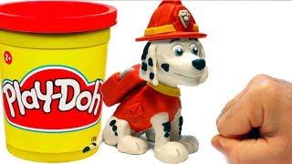 Paw Patrol clay Marshall cartoon 💕 Superhero Play Doh Stop motion videos