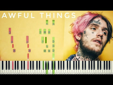 Lil Peep - Awful Things [#reggiewatkins piano synthesia tutorial]