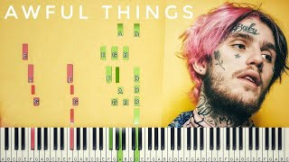Download Lil Peep - Awful Things  [#reggiewatkins piano synthesia tutorial] Mp3 and Videos