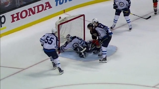 Cogliano scores thanks to a lucky bounce off Trouba