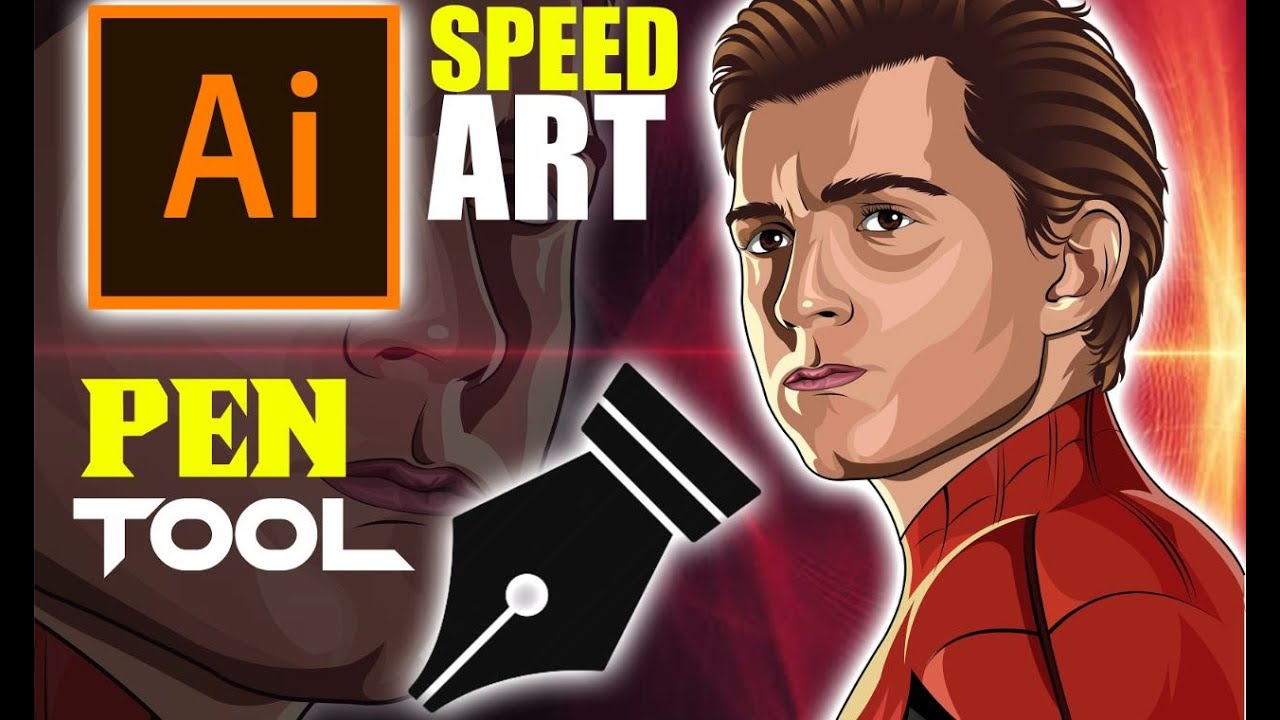 Cartoon Speed Art(Tom Holland)-Spiderman-Vector Art-Vexel Art-Adobe Illustrator-Drawing painting art