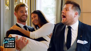 Chris Hemsworth v James Corden - Battle of the Waiters - LateLateLondon