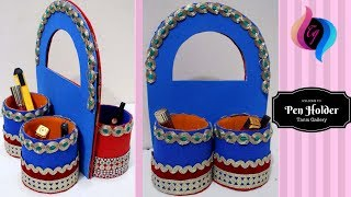 How to make pen holder using plastic bottle - Pen stand from waste bottle - Creative pen stand