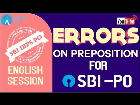 SBI PO 2017 | Errors On Preposition | English | Online Coaching for SBI IBPS Bank PO