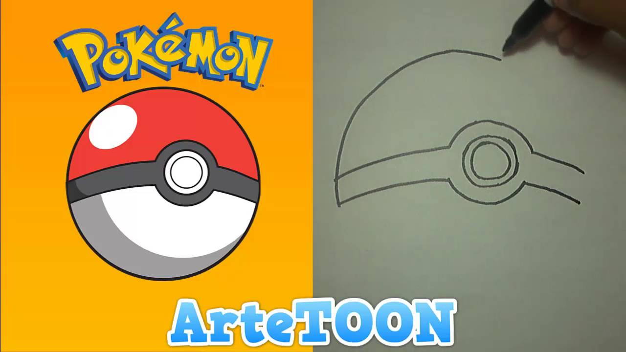 how to draw a pokeball ball youtube