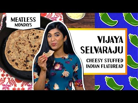 Cheesy Stuffed Indian Flat Bread l Meatless Monday-Vijaya Selvaraju
