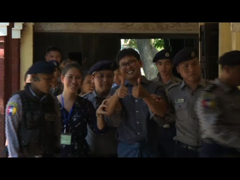 Myanmar: Reuters journalists arrive at court for hearing