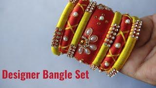 Silk Thread Designer Bangle set making|| Bridal wear bangle set|| Zardosi Design|CC 132