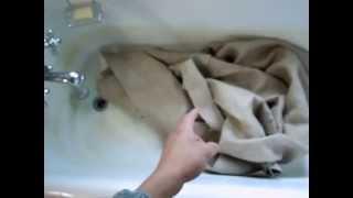 Washing Hemp Canvas Fabric to Prepare for Gluing.