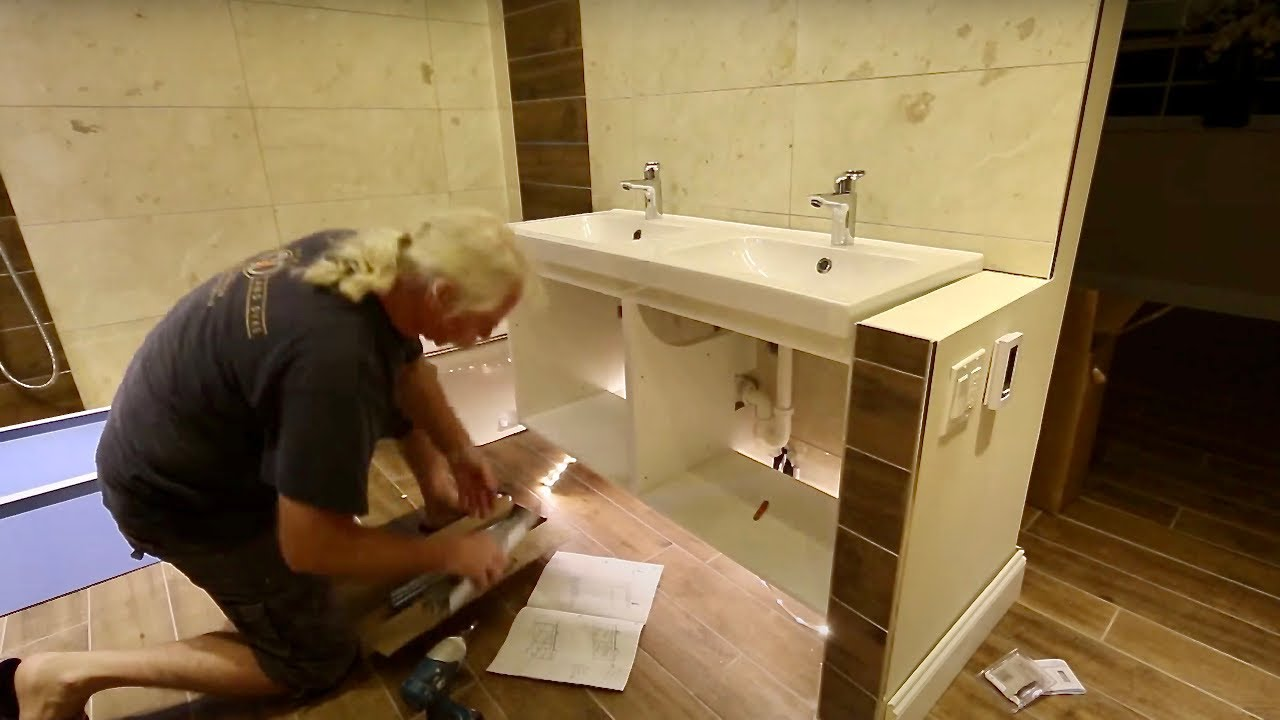 Installation of bathroom cabinets IKEA - YouTube