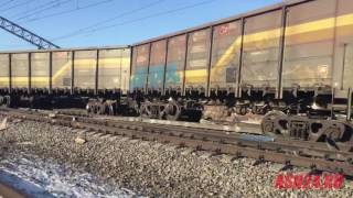 В Амурской области грузовой состав сбил ЗИЛ и слетел с рельсов