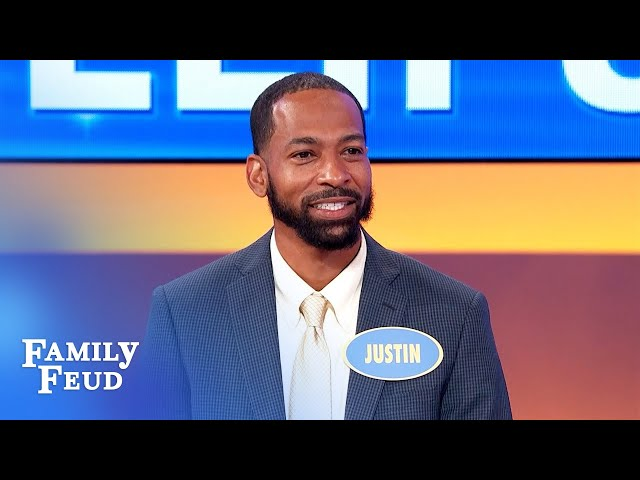 Nope! Justin ain't falling into Steve's trap!   Family Feud