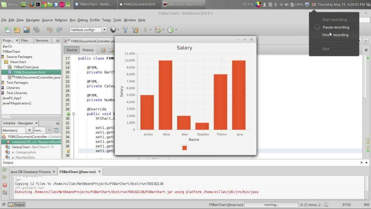 JavaFX Tutorial : Adding Bar Chart in your program