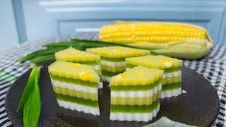 How to make Corn Pandan Coconut Layered Jelly 6 Layers - CKK