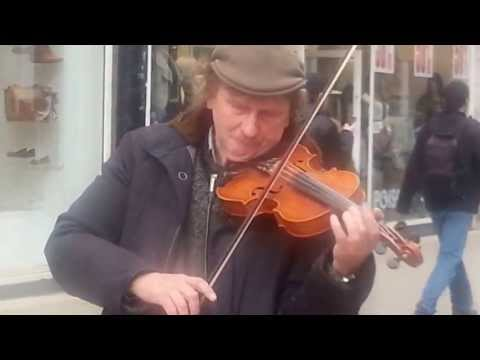 Busker Violin music playing in Croydon town center