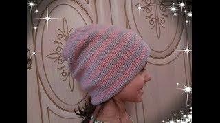 Двойная шапка бини ( с вязаным подкладом). Подробный МК для начинающий.