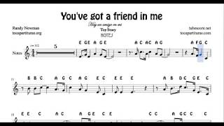 You've got a friend in me Easy Notes Sheet Music for Flute Violin Recorder Oboe