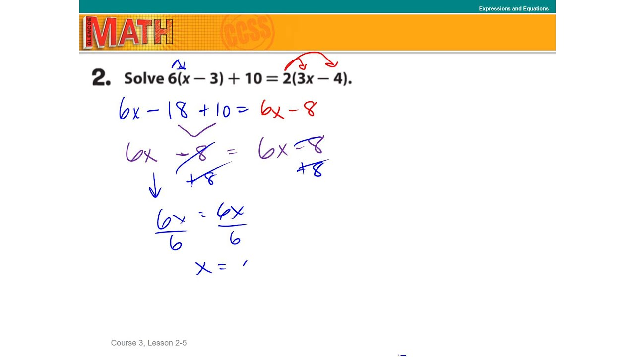 2 5 Solve Multi Step Equations Number of Solutions - YouTube