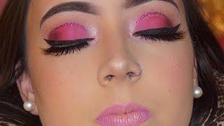 Rose Gold Huda Beauty Palette -Pink Glitter Cut Crease Tutorial : On Model