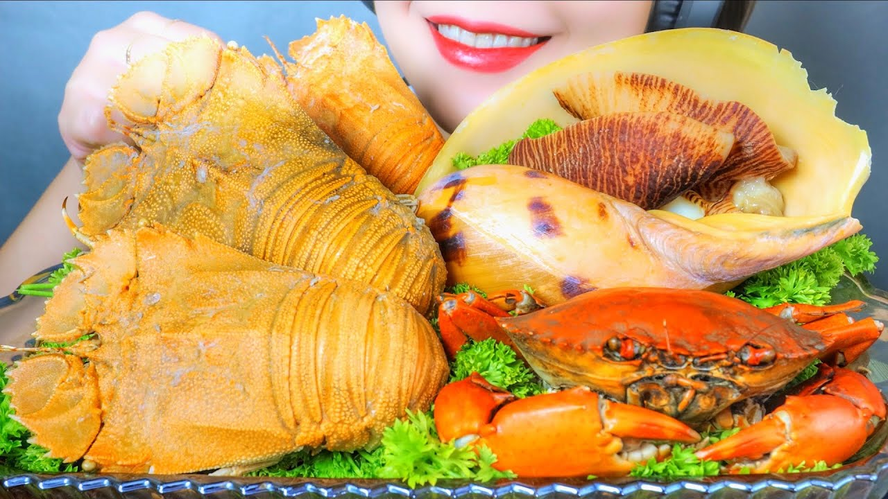 ASMR SEAFOOD PLATER CRAB MELO MELO SNAIL SLIPPER LOBSTER , EATING SOUNDS | LINH-ASMR