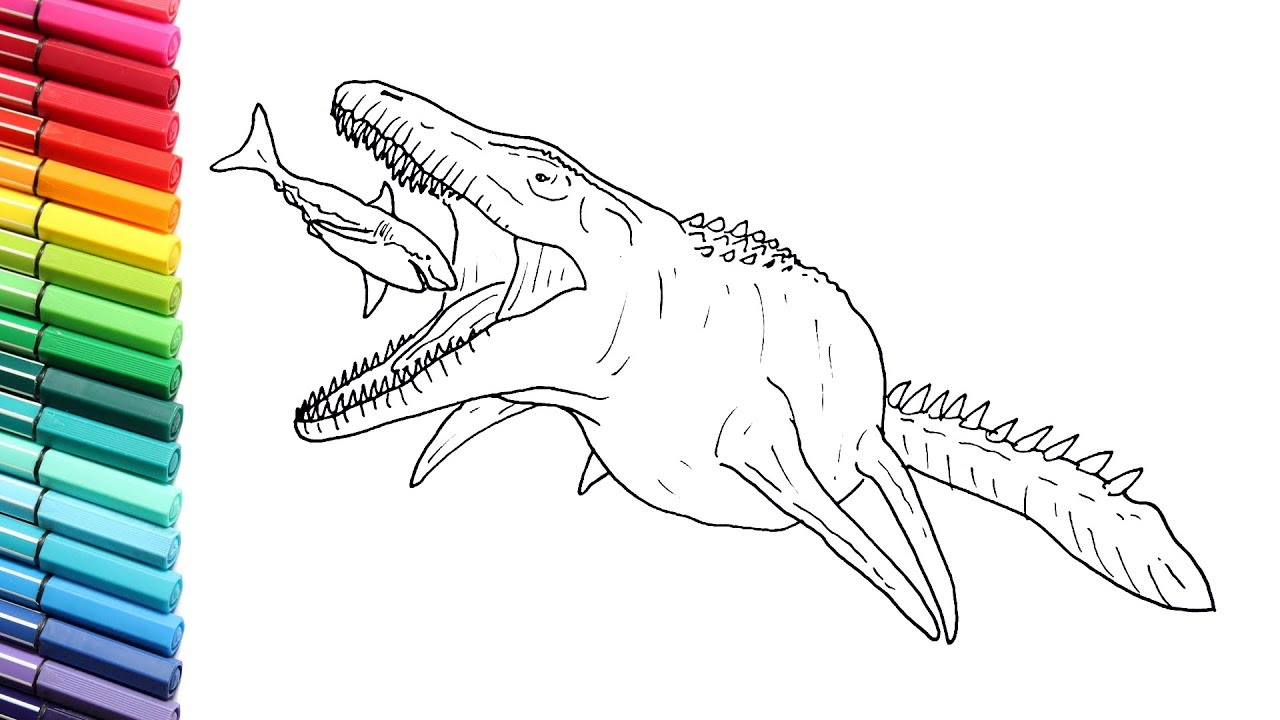 drawing and coloring mosasaur vs great white shak sea monster color pages from jurassic world youtube drawing and coloring mosasaur vs great white shak sea monster color pages from jurassic world