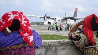 Landing Aeroperlas Regional. San Blas. Playon Chico. Panama.