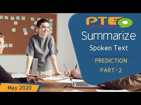 PTE Listening - Summarize Spoken Text (SST) - Prediction - (Part-2) - May Edition 2020