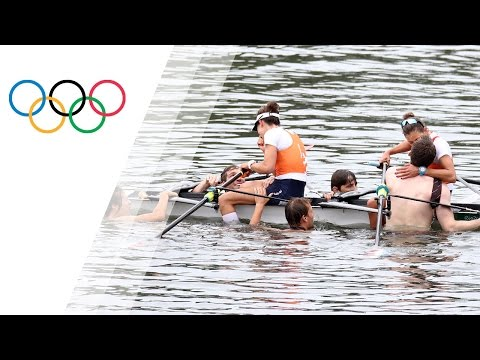 Rowers' partners swim out to the winners
