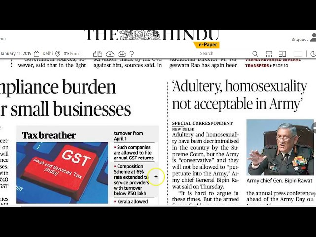 11 January 2019 - IMPORTANT HEADLINES The Hindu Current Affairs  - Mrs. Bilquees Khatri