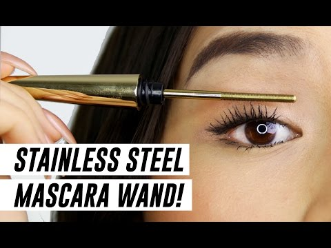 STAINLESS STEEL MASCARA WAND!! WTF? || TINA TRIES IT