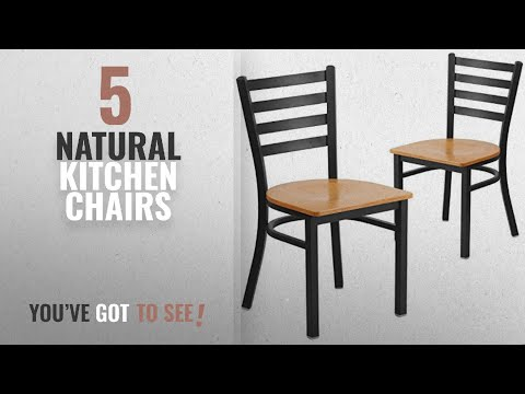 Top 10 Natural Kitchen Chairs [2018]: Flash Furniture 2 Pk. HERCULES Series Black Ladder Back Metal