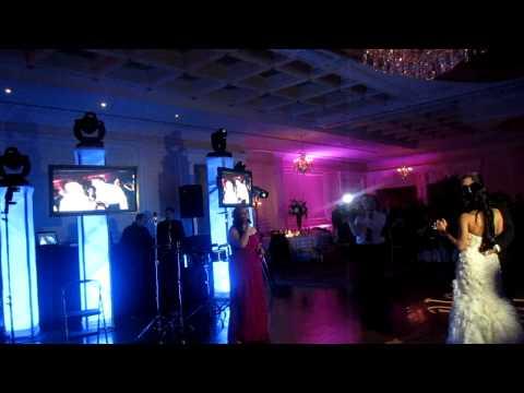 B singing at Bridget and Pieros wedding