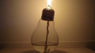 Самодельная свеча или керосинка из колбы лампочки накаливания