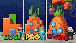 Minecraft - SPONGEBOB PINEAPPLE HOUSE! (NOOB vs. PRO vs. HACKER)
