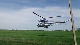 Вертолет по дороге в Прасковею, пилотажные трюки, село Орловка, май 2017